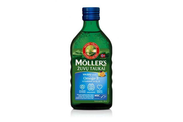 Mollers vaisių skonio skysti žuvų taukai